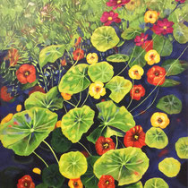 'Nasturtiums' Acrylic framed 50cm x 75cm £550