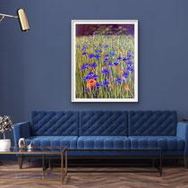 'Cornflowers' Acrylic framed in white £550