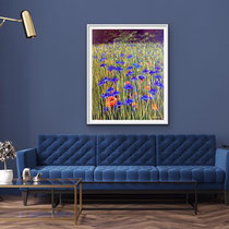 'Cornflowers' Acrylic framed in white £550