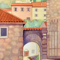'Picking Marigolds, Tuscany' Watercolour 79cm x 42cm £250