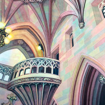 'The John Rylands Library' Watercolour framed in white £450