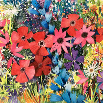 'Mad Meadow' Watercolour framed in white SOLD
