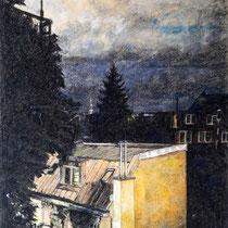 Hinterhof München - Pastell - 45 x 60 cm