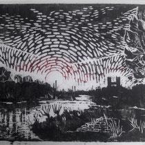 Holzschnitt - Isar - 20 x 27 cm