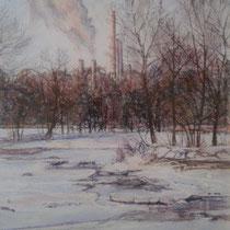 Isar mit Heizkraftwerk Süd Sendling - Pastell - 40 x 50 cm