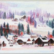 Kärnten, Patergassen - Aquarell - 40 x 50 cm