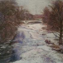 Isar mit Maximiliansbrücke - Pastell - 50 x 40 cm