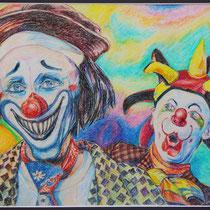 Clowns - Ölpastell - 40 x 50 cm