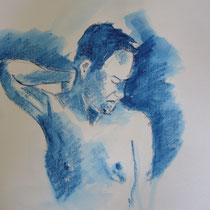 Blauer Akt stehend - Aquasticks - 30 x 40 cm