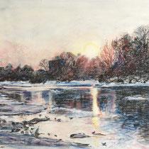 Isar - Isar am Flaucher - Pastell - 70 x 50 cm