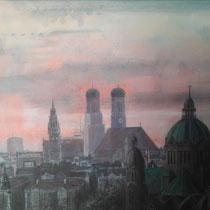 Silhouette von München aus Richtung Ost - Acryl auf Leinwand - 70 x 50 cm