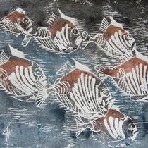 Holzschnitt - Fische- 15 x 20 cm