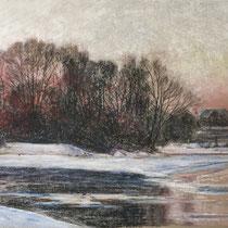 Isar am Flaucher - Pastell - 70 x 50 cm