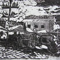 Holzschnitt - Viktualienmarkt - 15 x 20 cm