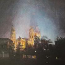 Blick aus dem Hofgarten auf Theatinerkirche München - Acryl auf Leinwand - 100 x 80 cm