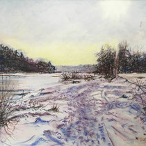 Isar - hinter Marienklause - Pastell - 40 x 50 cm