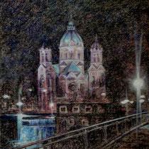 Lukaskirche München - Pastell - 50 x 70 cm