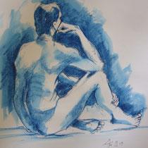 Blauer Akt sitzend - Aquasticks - 30 x 40 cm