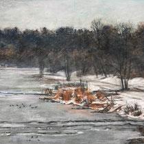 Isar im Winter - Pastell - 40 x 60 cm