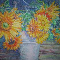 Sonnenblumen - Ölpastell - 50 x 70 cm
