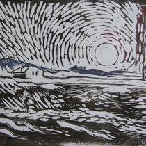 Holzschnitt - Abendsonne - 15 x 20 cm