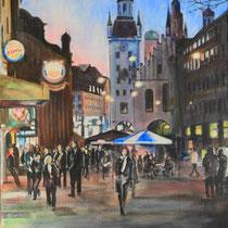 München Im Tal, Blick auf Altes Rathaus - Acryl auf Leinwand - 50 x 70 cm