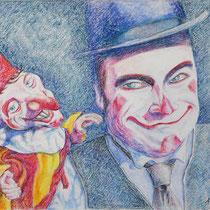 Böser Clown - Ölpastell - 40 x 50 cm