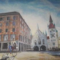Am Rathauseck - Acryl auf Leinwand - 80 x 60 cm