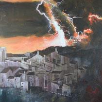 Bergdorf vor Vulkan, Südamerika  - Acryl Mischtechnik - 80 x 120