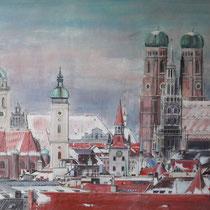 Müchen - Innenstadt im Winter - Acryl auf Leinwand - 90 x 70 cm