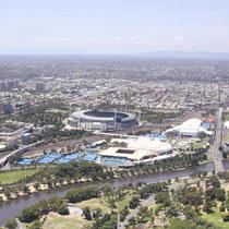 Im Eureka Tower mit Blick auf die Stadien in Melbourne (Australia Open..)