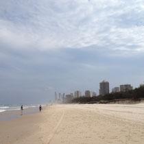 Beach an der Gold Coast mit Ausblick auf Sufers Paradise