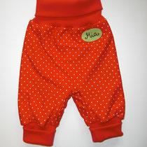 42  bequeme Babyhose Größe 50-92 aus Jersey mit krempelbaren Bündchen oben und unten, mit Namen .... Preis: 16,00 Euro