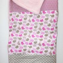 2 Babydecke mit Nuckel- oder Taschentuchtasche. Oben 100% Baumwolle  unten Fleece.  80x80 cm (Auf Wunsch auch andere Größen)