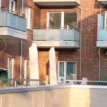 Auch im Carpserweg werden keine Haussperlinge auf Augenhöhe über den Terrassen brüten.