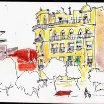 Plaza Moret, acuarela de Juan Mª Josa