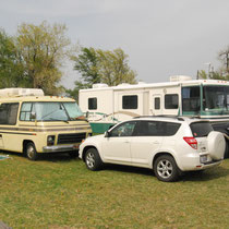 Both vintage and modern RV's welcome here