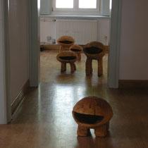 """""""Familie Kopffüßler"""", Lindenholz, ca.: B 40 cm, H 35 cm, T 30 cm"""