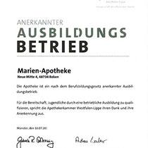 """Zertifikat """"Anerkannter Ausbildungsbetrieb""""   Marien-Apotheke Reken"""