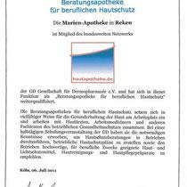 """Zertifikat """"Beratungsapotheke für beruflichen Hautschutz""""   Marien-Apotheke Reken"""