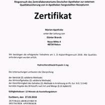"Zertifikat ""Hydrochlorothiazid-Kapseln""   Marien-Apotheke Reken"