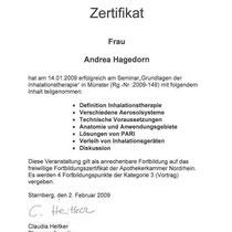 "Zertifikat ""Grundlagen der Inhalationstherapie PARI""   Marien-Apotheke Reken"