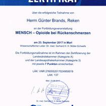 """Zertifikat """"Mensch - Opioide bei Rückenschmerzen""""   Marien-Apotheke Reken"""