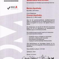 "Zertifikat ""QM System Qualitätszertifikat bis 2024  Apothekerkammer Westfalen-Lippe ""    Marien Apotheke Reken"