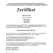 "Zertifikat ""Wasserhaltige hydrophile Salbe DAB""   Marien-Apotheke Reken"