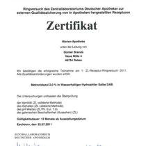 """Zertifikat """"Metronidazol-Salbe""""   Marien-Apotheke Reken"""