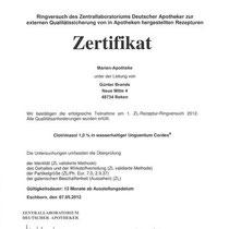 """Zertifikat """"Clotrimazol""""   Marien-Apotheke Reken"""
