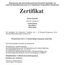 "Zertifikat ""Dexamethason in wasserhaltiger Salbe""   Marien-Apotheke Reken"