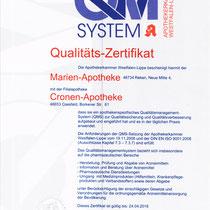 Qualitätszertifikat QM System    Marien-Apotheke Reken