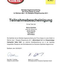 "Zertifikat ""Hygiene-Monitoring Caelo""   Marien-Apotheke Reken"